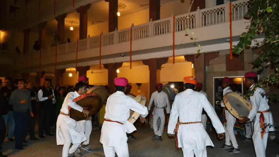 Traditional Holi Celebration with Folk Dance and Music at Hotel Suryaa Villa Jaipur